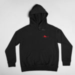 hoodie Single Plane logo (black red)