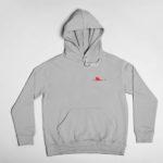 hoodie Single Plane logo (grey red)