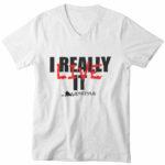 men_s vneck I Really Live It logo (white black red)