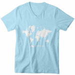 men_s vneck Map logo (carolina blue white)