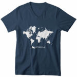 men_s vneck Map logo (navy blue white)