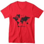 men_s vneck Map logo (red black)