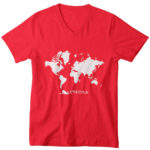 men_s vneck Map logo (red white)