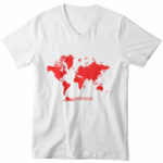 men_s vneck Map logo (white red)