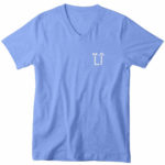 mens vneck L.I. logo (carolina blue white)