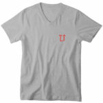 mens vneck L.I. logo (gray red)