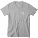 mens vneck L.I. logo (gray white)