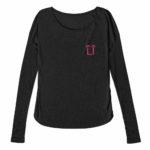 ladies raw edge long sleeve L.I. ( black pink)