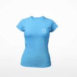 women_s tee L.I. logo (carolina blue white)