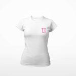 women_s tee L.I. logo (white pink)