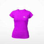 women_s tee Single Plane logo (purple white)