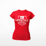 women_s tee Stamp logo (red white)