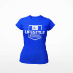 women_s tee Stamp logo (royal blue white)