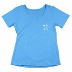 women_s vneck L.I. logo (carolina blue white)