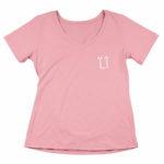 women_s vneck L.I. logo (pink white)