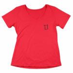 women_s vneck L.I. logo (red black)