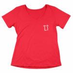 women_s vneck L.I. logo (red white)